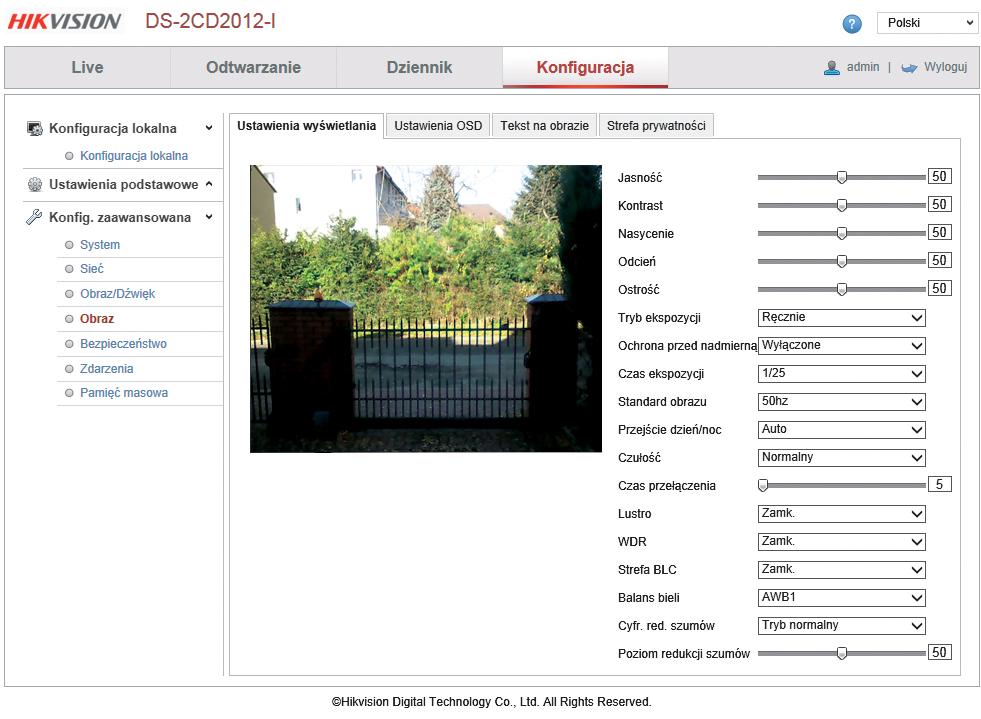 interfejs kamery ip hikvision
